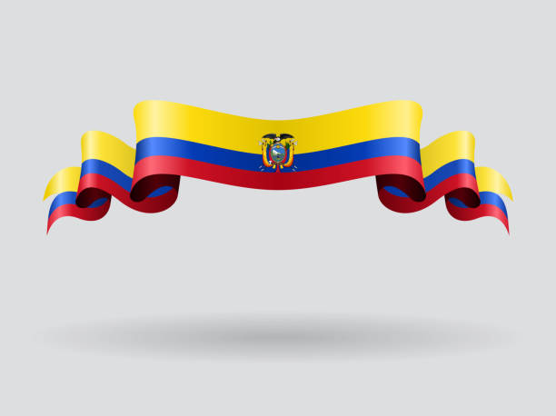 ecuadorian wellenförmigen flagge. vektor-illustration. - flagge ecuador stock-grafiken, -clipart, -cartoons und -symbole