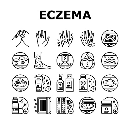 Eczema Disease Treat Collection Icons Set Vector. Nummular And Neurodermatitis Eczema Treatment, Dry Skin And Pain, Contact And Atopic Dermatitis. Black Contour Illustrations