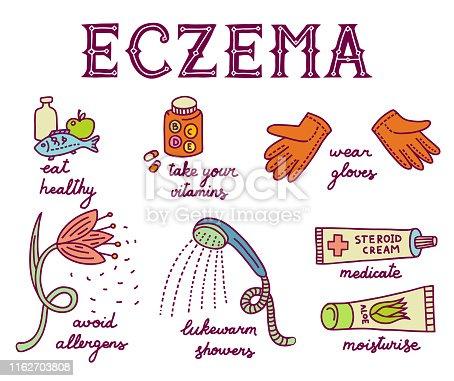 Doodle illustration about atopic dermatitis and eczema. Allergen flower, warm gloves, shower, vitamins, medication, soothing moisturizing cream, healthy food. White background. Handwritten advice.