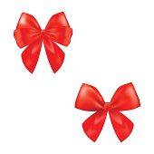 ed ribbon satin bows isolated on white