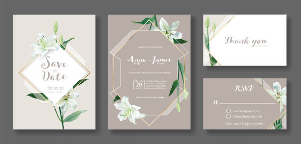 edding invitation card, save the date, thank you, rsvp template. white lily flower. - thank you background stock illustrations