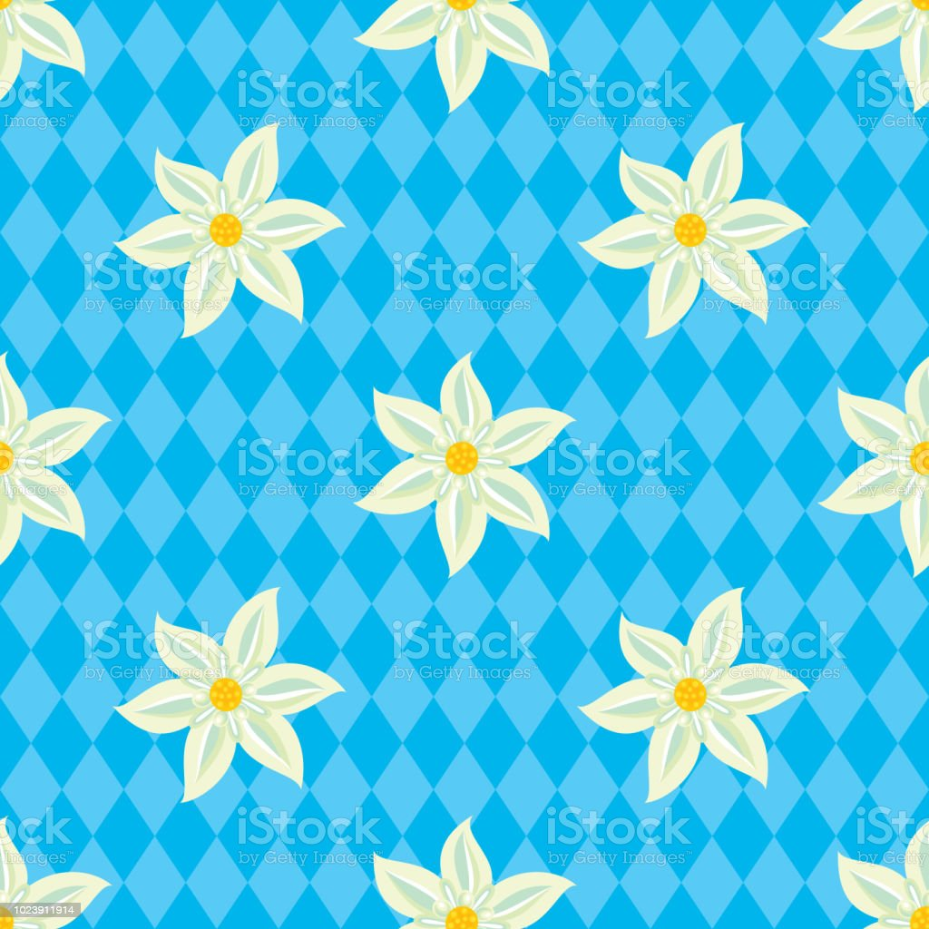 Edelweiss Seamless Pattern royalty-free edelweiss seamless pattern stock illustration - download image now