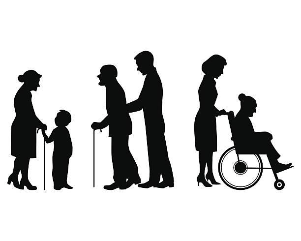 illustrazioni stock, clip art, cartoni animati e icone di tendenza di silhouette ederly persone - nonna e nipote camminare