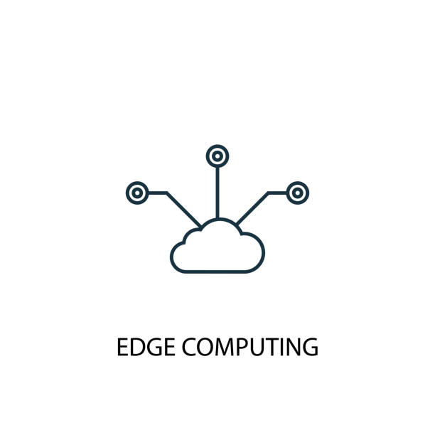 edge computing concept line icon. einfache element-illustration. edge-computing-konzept skizziert symboldesign. kann für web und mobile ui/ux verwendet werden - computeranlage stock-grafiken, -clipart, -cartoons und -symbole