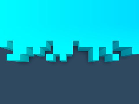3D Edge Isometric Pixel Border