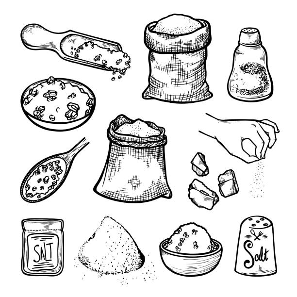 Edible and sea salt set. Food seasoning and kitchenware. Scoop, bag, shaker, plate, package, spoon. Edible and sea salt set. Food seasoning and kitchenware. Scoop, bag, shaker, plate, package, spoon, heap, pinch, bowl. Hand drawn, sketch vector illustration isolated on white background. salt stock illustrations