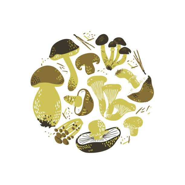 Illustration ronde comestible de champignons. Linocut vieux style. Illustration de vecteur dessinée à la main. - Illustration vectorielle