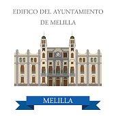 Edificio del Ayuntamiento de Melilla. Flat cartoon style historic sight showplace attraction web site vector illustration. World countries cities vacation travel sightseeing Africa collection.