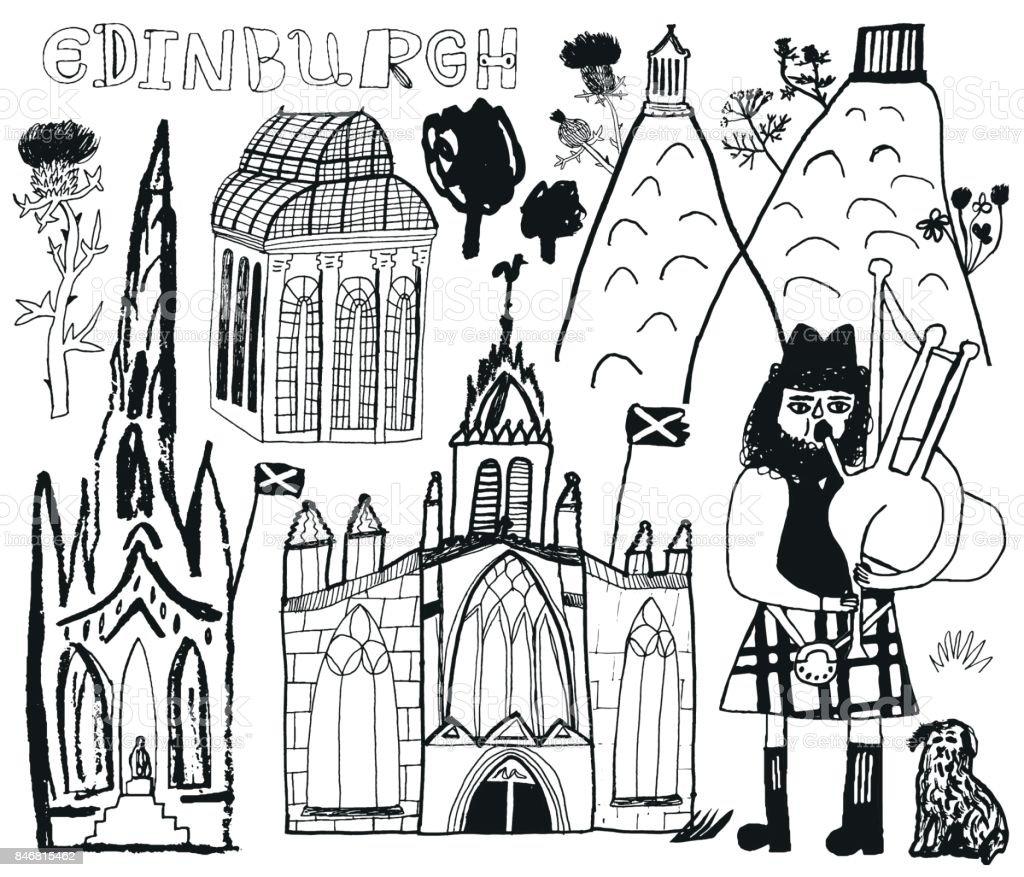 Edinburgh in Scotland vector art illustration