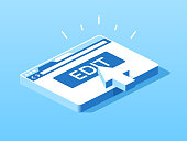 Edit button browser window isometric projection.