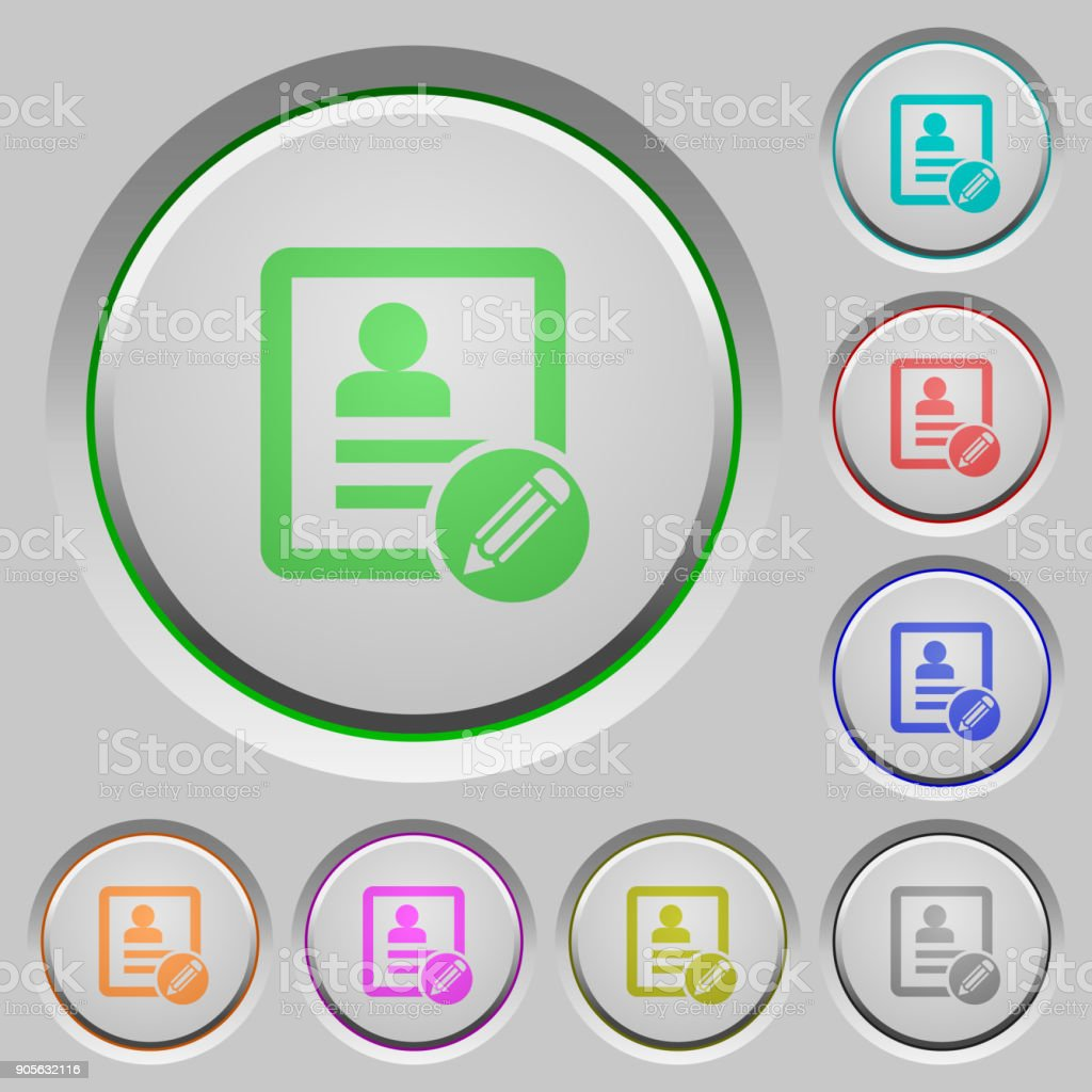 Edit contact push buttons vector art illustration