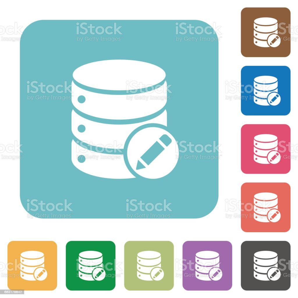 Edit database flat icons 免版稅 edit database flat icons 向量插圖及更多 主題 圖片