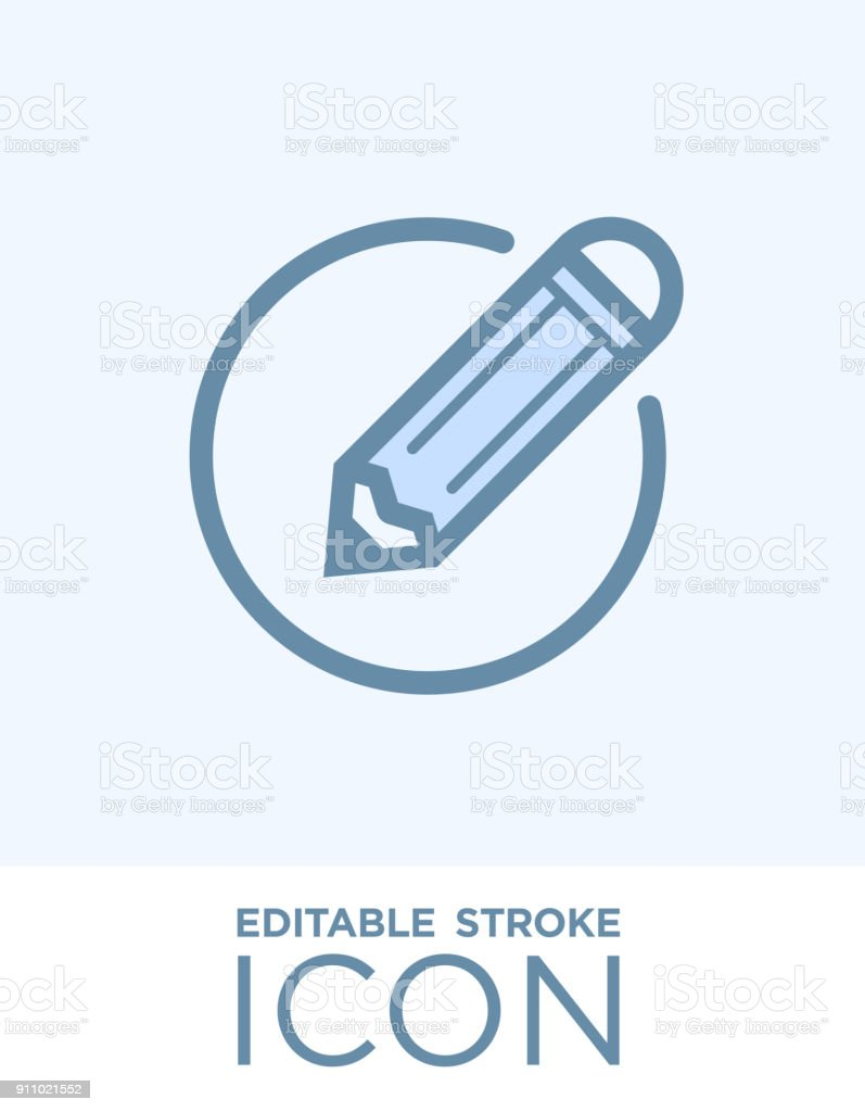 Edit icon. Pencil line icon, editable stoke outline and solid vector sign, linear and full pictogram isolated on white background, logo illustration, flat design in set