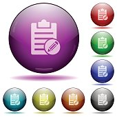 Edit note glass sphere buttons