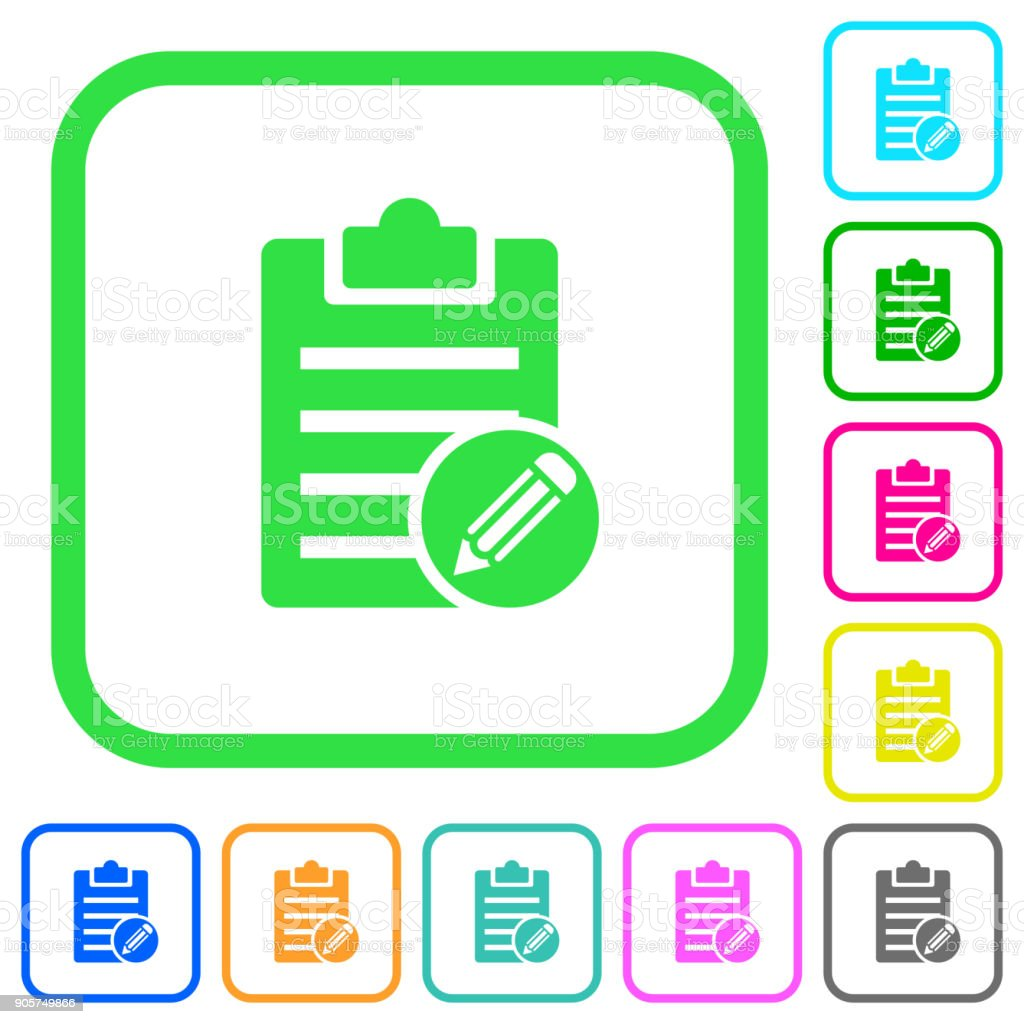 Edit note vivid colored flat icons vector art illustration