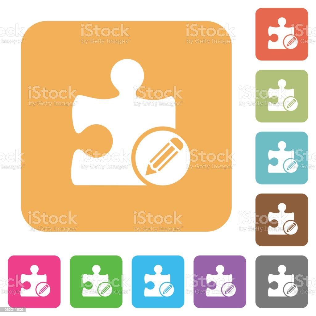 Edit plugin rounded square flat icons Lizenzfreies edit plugin rounded square flat icons stock vektor art und mehr bilder von auftragen