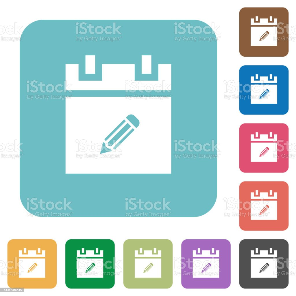 Edit schedule item rounded square flat icons vector art illustration