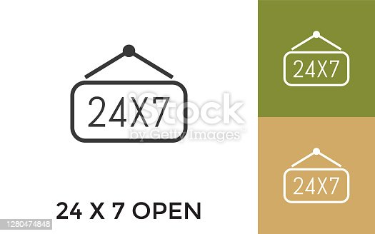 Editable 24X7 Open Icon with Title. Useful For Mobile Application, Website, Software and Print Media.