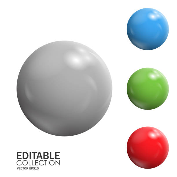 Editable 3d sphere 3d editable vector spheres isolated on white background sphere stock illustrations