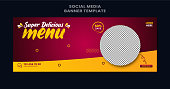 Editable banner template design for food cover. Suitable for Social Media  cover restaurant and culinary digital Promotion. Colorful background and shape vector design.