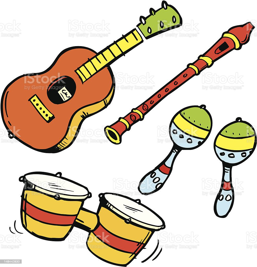 Uncategorized Musical Cartoons editable cartoon illustration drawing set of musical instruments royalty free stock vector art