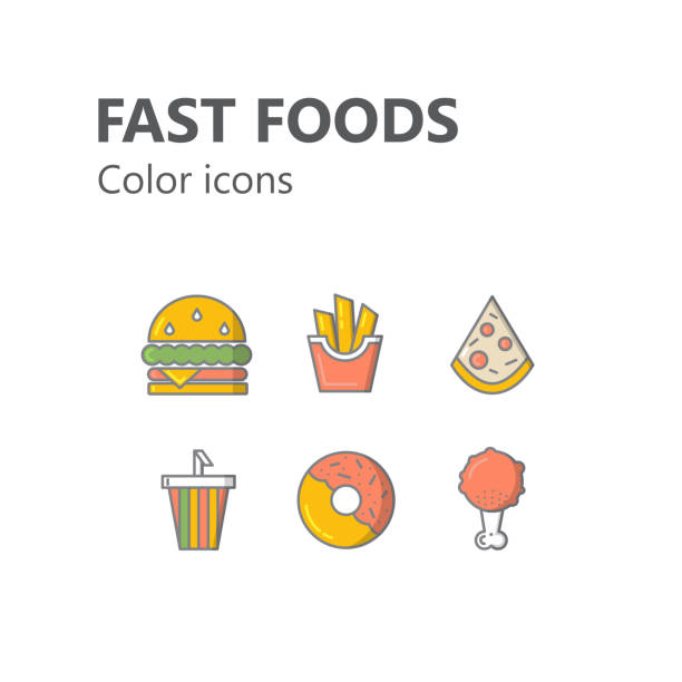 editable color icons set : fast foods - burger and chicken stock illustrations