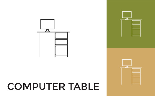 Editable Computer Table Thin Line Icon with Title. Useful For Mobile Application, Website, Software and Print Media.
