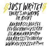 Hand drawn brush pen ABC letters big set. Doodle style vector font for your design.