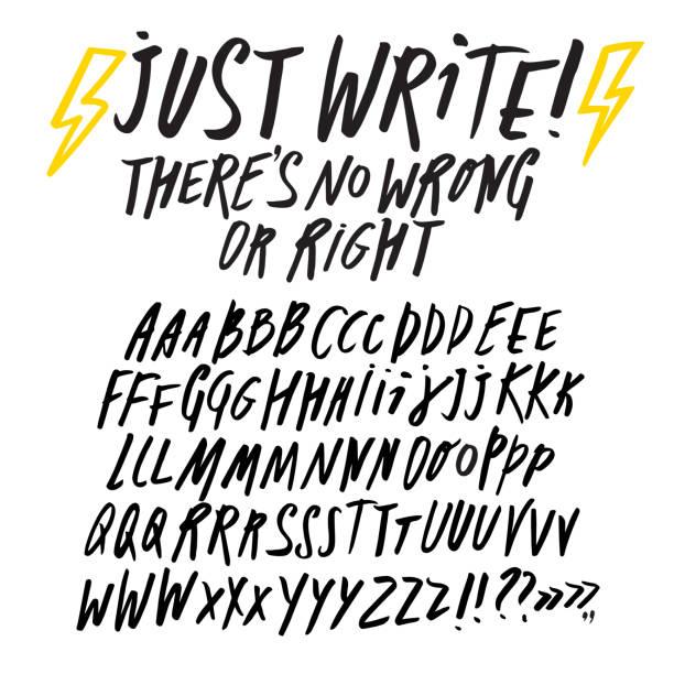 Editable doodle style font set Hand drawn brush pen ABC letters big set. Doodle style vector font for your design. alphabet drawings stock illustrations