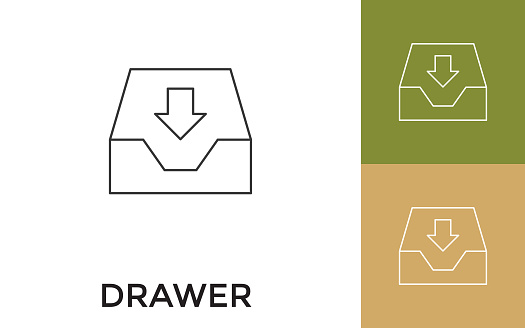 Editable Drawer Thin Line Icon with Title. Useful For Mobile Application, Website, Software and Print Media.