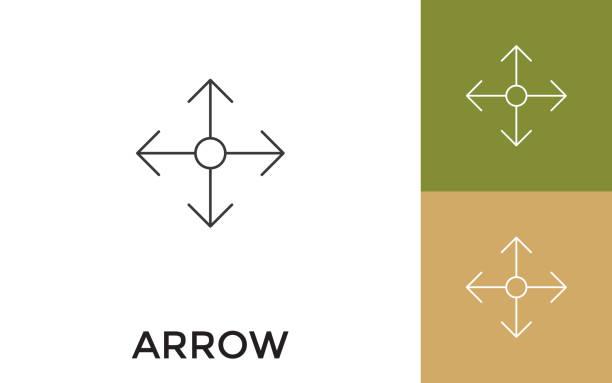 kullanılabilir dört yan ok veya başlık ile i̇nce çizgi simgesi büyüt. mobil uygulama, web sitesi, yazılım ve baskı medyası için yararlıdır. - start stock illustrations