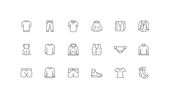 Editable Icon Concepts. Pant, Dress, Shirt, T-Shirt, Shoes Icon Design