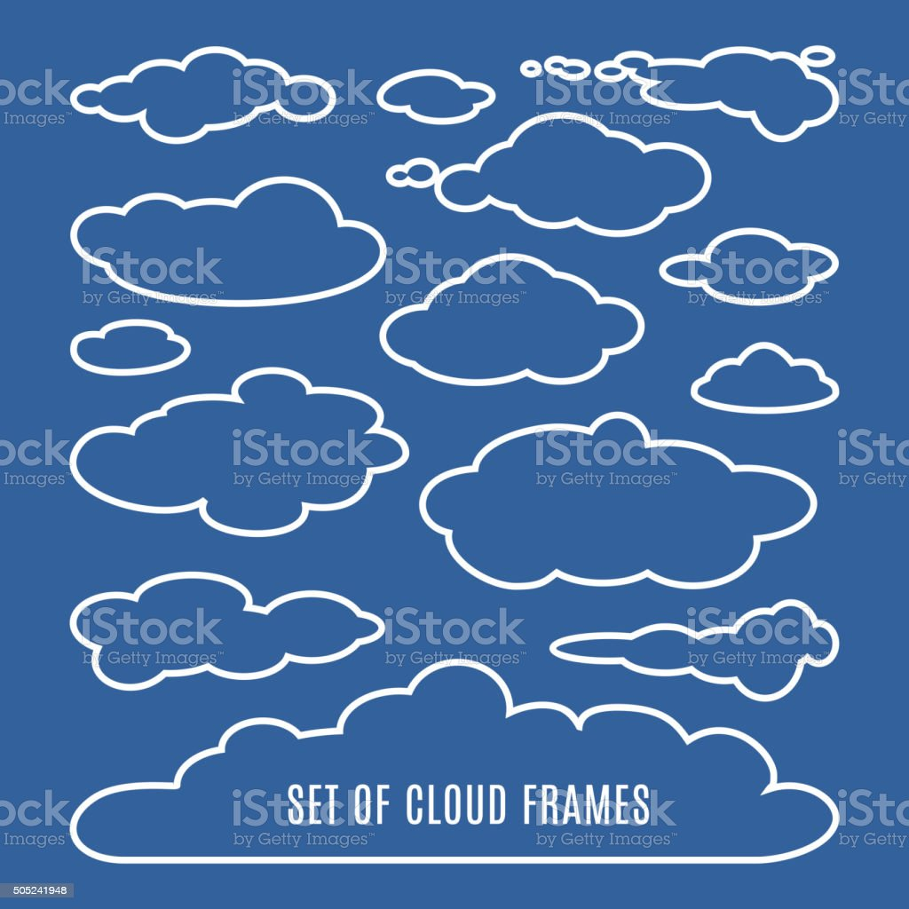 Editable  illustration of clouds isolated on blue background vector art illustration