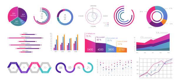 stockillustraties, clipart, cartoons en iconen met bewerkbare infographic templates - dashboard