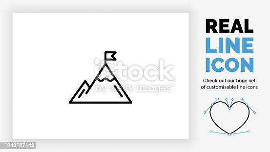 icono de línea editable de una montaña