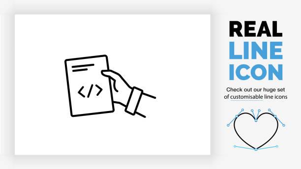 stockillustraties, clipart, cartoons en iconen met pictogram bewerkbare regel van een persoon die een document over code geeft - netherlands map