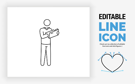 Editable line icon of a stick figure person opening a file