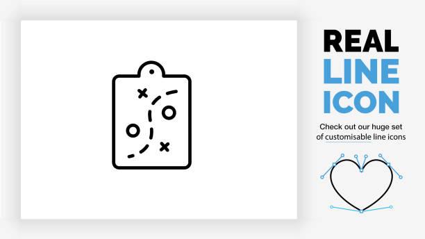 stockillustraties, clipart, cartoons en iconen met pictogram bewerkbare regel van een strategie op een klembord - netherlands map