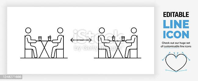 istock Editable line icon of people keeping social distance 1248271666