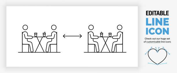 ilustrações de stock, clip art, desenhos animados e ícones de editable line icon of people keeping social distance - covid restaurant