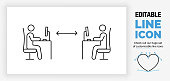 istock Editable line icon of working with social distance in the office 1248271675