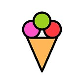 editable outlines icons  of sweet frozen ice cream cone in filled designing,