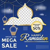 editable post templates for ramadan sales, can be used for marketing on social media. backgrounds, web templates, banners, flyer, leaflets.