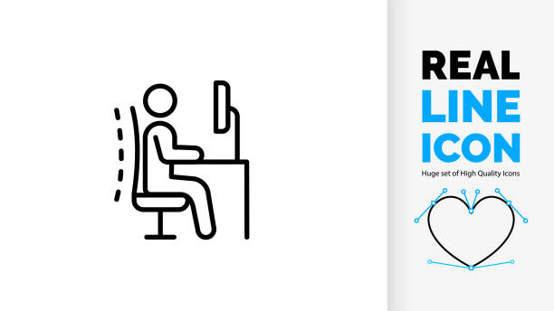 Editable real line icon of a ergonomic work chair with correct stick figure posture line icon of ergonomic office chair posture proper employee back body position for spine and neck care human stickman or stick figure pose on adjustable desk as black light stroke vector office chair stock illustrations