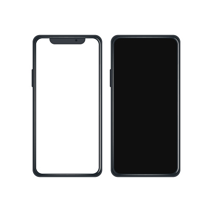 Editable realistic trendy mockup smartphone with blank white screen for visual ui app demonstration.