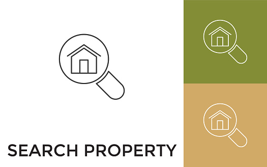 Editable Search Property Thin Line Icon with Title. Useful For Mobile Application, Website, Software and Print Media.
