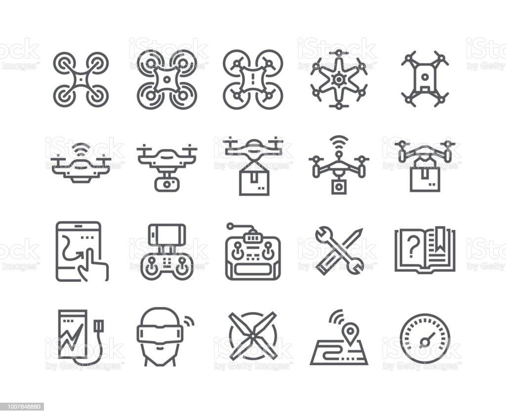 Ligne simple modifiable AVC vecteur jeu d'icônes, air drones, quadrocopters et télécommande drones et bien plus encore. 48 x 48 pixels parfait. - Illustration vectorielle