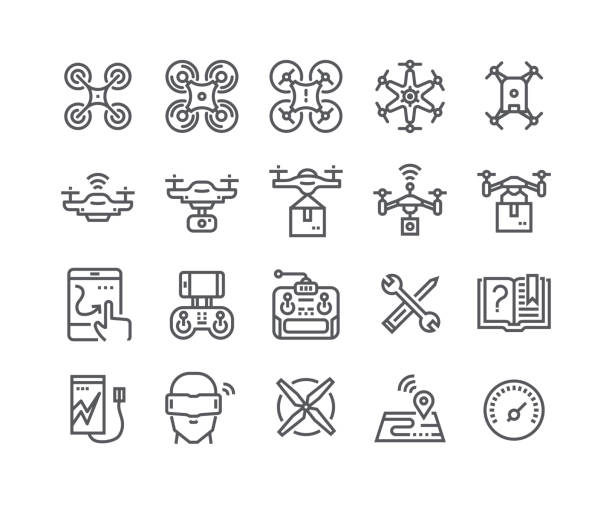 Editable simple line stroke vector icon set,air drones, quadrocopters and remote control drones and more. 48x48 Pixel Perfect. Editable simple line stroke vector icon set,air drones, quadrocopters and remote control drones and more. 48x48 Pixel Perfect. cell phone charger stock illustrations