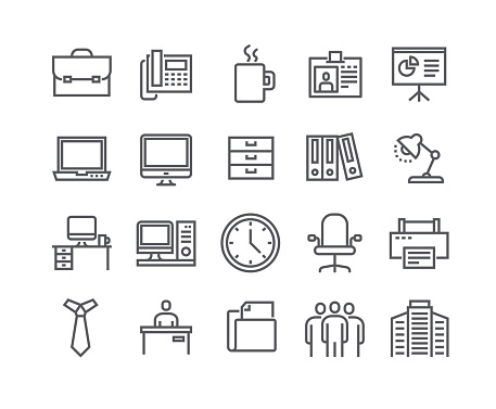 Editable simple line stroke vector icon set,Business basic icon,Business Meeting, Workplace, Office Building, Reception Desk and more.48x48 Pixel Perfect. clipart