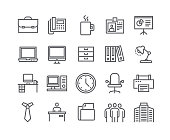 Editable simple line stroke vector icon set,Business basic icon,Business Meeting, Workplace, Office Building, Reception Desk and more.48x48 Pixel Perfect.